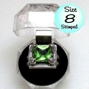 Ring Size 8 Simulated Emerald 273